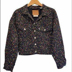 LEVI'S PREMIUM Black Floral Denim Jean Fall Jacket Size Small EUC